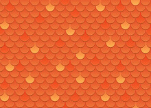 Vector Seamless Pattern Of Red Roof Tile. Red Shingles Roof Texture Background. Orange Roof Tile For House Covering. Vector Illustration.