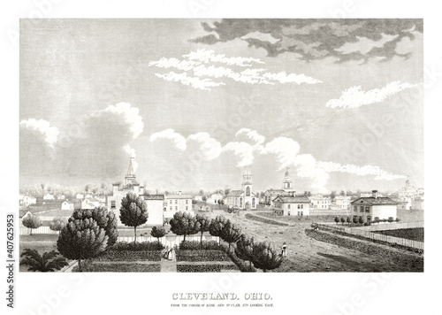 Obraz na plátně Old view of Cleveland, Ohio, from the St Clair street in the past times