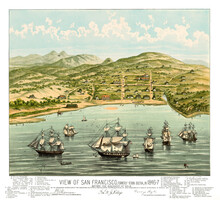 Old View Of San Francisco At The Beginning (formerly Yerba Buena), California And Vintage Captions. Highly Detailed Vintage Style Color Illustration By Marryat Author, U.S., 1884