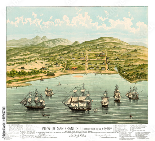 Fotografie, Obraz Old view of San Francisco at the beginning (formerly Yerba Buena), California and vintage captions