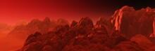 Martian Landscape, Surface Of Mars At Sunset, Panorama Of Mars, Alien Landscape,, 3d Rendering