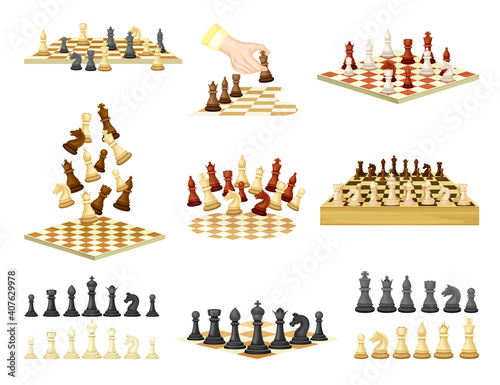 Chess as Strategy Board Game with Chessboard and Chess Pieces Vector Set Fototapete