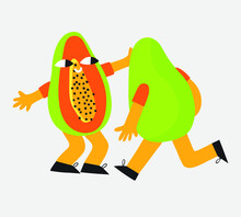 Vector - Papaya Slices Run To Each Other To Meet. Funny Character Papaya. Acid Retro Funky Style. Loving Fruit Exotic Stickers. Trendy Element For Postcards And Decor 2021