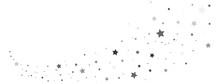 Star Silver Trail Shape. Gray Stars Composition On White Background. Glitter Elegant Design Elements. Gold Shooting Stars. Magic Decoration. Celebration Christmas Texture. Vector Illustration
