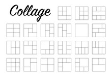Collection Photo Collage In Line Style. Empty Linear Frames For Photography. Big Set. Vector