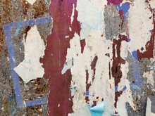 Old Torn, Ruined And Crumpled Street Poster. Urban Background
