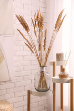Fluffy Reed Plumes Near White Brick Wall Indoors. Interior Element