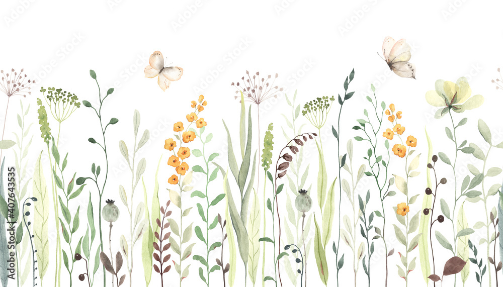 Fototapeta Floral seamless horizontal border with abstract yellow flowers, green leaves and plants, flying butterflies. Watercolor isolated pattern on white background, panoramic illustration summer meadow.
