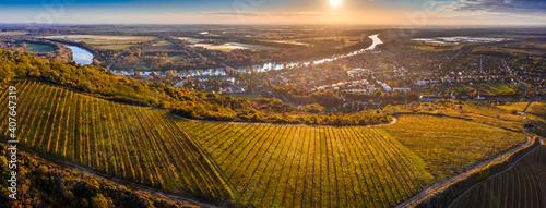 Fotografiet Tokaj, Hungary - Aerial panoramic view of the world famous Hungarian vineyards o