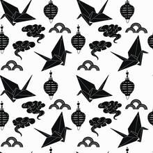 Japan Symbol Crane Flying On Seamless Background