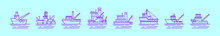 Set Of Tugboat Cartoon Icon Design Template With Various Models. Vector Illustration Isolated On Blue Background