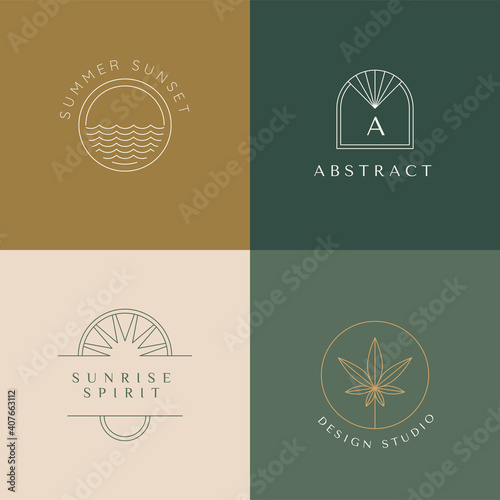 Obraz Vector set of linear boho icons and symbols - sun logo design templates - abstract design elements - fototapety do salonu