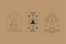 Vector Set Of Linear Design Elements For Logo Templates In Modern Minimalist Style With Copy Space For Text With Human Figures And Heads - Human Spirit And Meditation