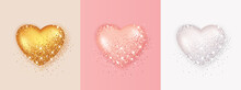 Realistic 3d Heart Shape With Glitter And Sparkling. Collection Of Heart Illustrations, Love Symbol Icon Set, Love Symbol.