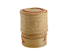 Sticky Rice Basket Container From Bamboo (kratip) Isolated On White Background With Clipping Path.