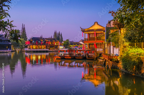 Canvas Print Weekend getaway from bustling city of Shanghai to an ancient water town of Zhuji