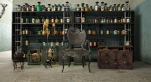 Alchemical Room, Apothecary's Shop With Shelving With Vials And Medical And Poisonous Substances, Accessories For Witchcraft, 3d Illustration, 3d Rendering