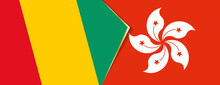 Guinea And Hong Kong Flags, Two Vector Flags.