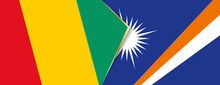 Guinea And Marshall Islands Flags, Two Vector Flags.