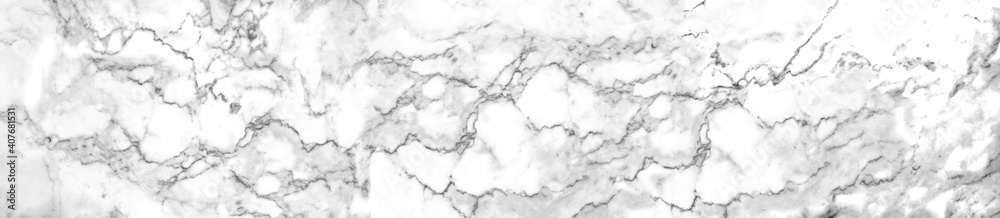 Fototapeta Panorama luxury of white marble texture and background for decorative design pattern art work. Marble with high resolution