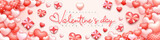 Realistic valentine's Day banner background. Cute love valentine banner or greeting card. Beautiful romantic background