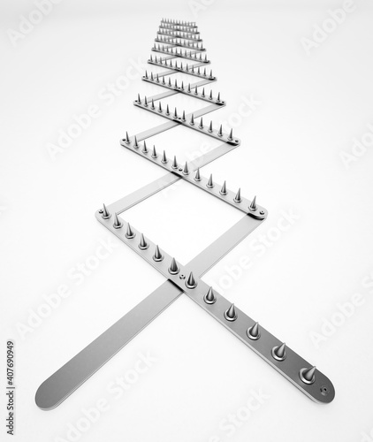 Road spike isolated on white background. 3D illustration © Destina