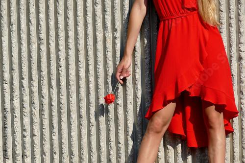 Slika na platnu Ragazza con vestito rosso