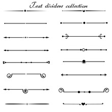 Vector Set Of Calligraphic Elements, Vintage Text Dividers
