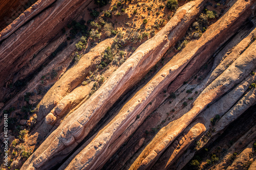 Fototapeta Aerial view on the geological structures of the Arches National Park,  Utah