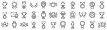 Awards Line Icons Set. Trophy Cup, Medal, Winner Prize Icon. Vector
