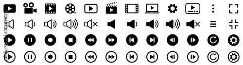 Tablou Canvas Media player icons collection