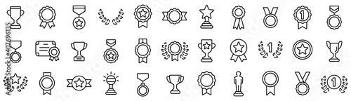 Fotografie, Obraz Awards line icons set