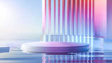 3d Render Round Platform On Water With Glass Wall Panels. Minimal Landscape Mockup For Product Showcase Banner In Rainbow Colors. Modern Design Promotion Mock Up. Geometric Background With Empty Space