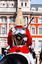 The Royal Guards In Red Uniform On Horses, The Life Guards, Household Cavalry Mounted Regiment, Parade Ground Horse Guards Parade, Changing Of The Guard, Old Admiralty Building, Whitehall, Westminster