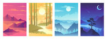 Set Of Abstract Autumn Landscapes. Scenic Views Of The River, Lake, Cliffs, Mountains And Pine Forest. Night, Day, Sunrise And Sunset. Vector Illustration.