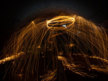 Steel Wool Was Ignited And Spun Around Inside A Tunnel With A Long Exposure.