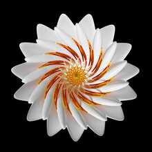 3d Render Of Abstract Art With Surreal 3d Lotus Or Lily Flower Or Indian Mandala Symbol In Spherical Spiral Twisted Shape With Fractal Structure In White Glossy Ceramic With Orange And Red Metal Parts