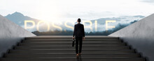Confidential Businessman In Suit Holding Bag Walk To Success On Stair, Development And Leader In Business Concept