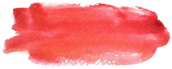 watercolor stain red banner on white background