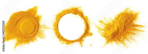 Fotografie, Obraz Set turmeric (Curcuma) powder pile, round frame and border isolated on white bac