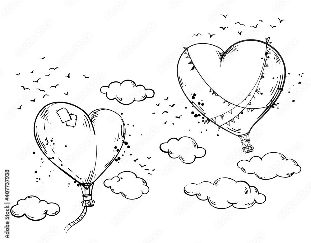 Fototapeta Heart shaped hot air baloons soaring in the air among clouds, romantic atmosphere