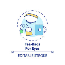 Tea-bags For Eyes Concept Icon. At-home Face Care Procedure Idea Thin Line Illustration. Decreasing Swelling, Discolouration And Bags. Vector Isolated Outline RGB Color Drawing. Editable Stroke