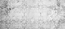 Old Gray Grey White Vintage Worn Shabby Patchwork Floral Flower Leaves Motif Tiles Stone Concrete Cement Wall Texture Background Banner