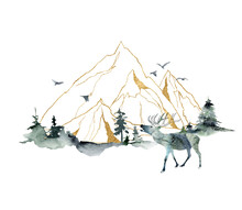 Watercolor Minimalistic Landscape Of Forest, Mountains And Deer. Hand Painted Abstract And Gold Linear Mountains. Illustrations Isolated On White Background. For Design, Print, Fabric Or Background.