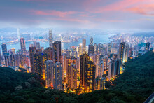 Hong Kong, China City Skyline From Victoria Peak