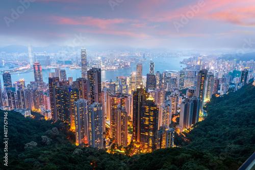 Hongkong, Chiny panoramę miasta ze szczytu Wiktorii