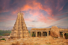 Unbelievable Ancient Temple Ruins In Hampi At Sunset, India