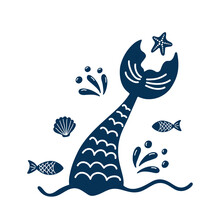 Mermaid's Tail Silhouette With Fishes, Splashes, Shell, Starfish.