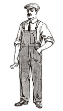 Craftsman, Mechanic Or Technician From Early 20th Century Wearing Overall And Cap, Holding Wrench