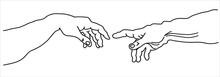 Creation Of Adam Michelangelo Vector Hands With Frame